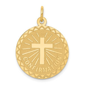 14k Confirmation Disc Charm